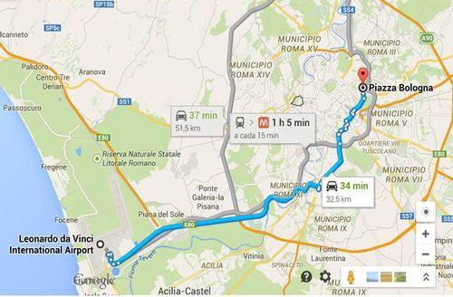 Roma_trajeto aeroporto hotel Laura_Piazza Bologna